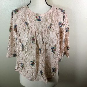 Zara Lace Floral Baby Doll Top